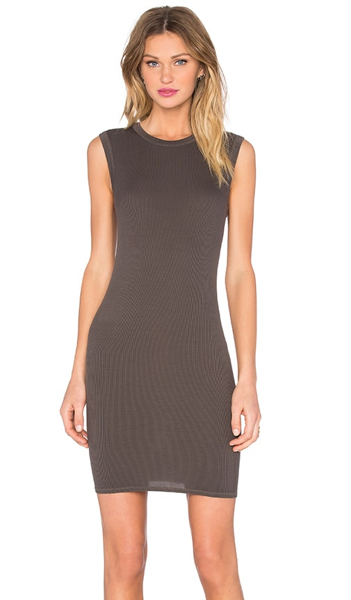 Enza Costa Rib Sleevelesss Mini Dress in BLACK OLIVE