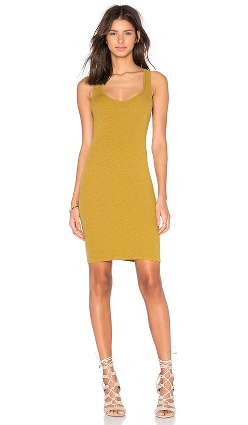 Enza Costa Rib Tank Mini Dress in Ecru Olive