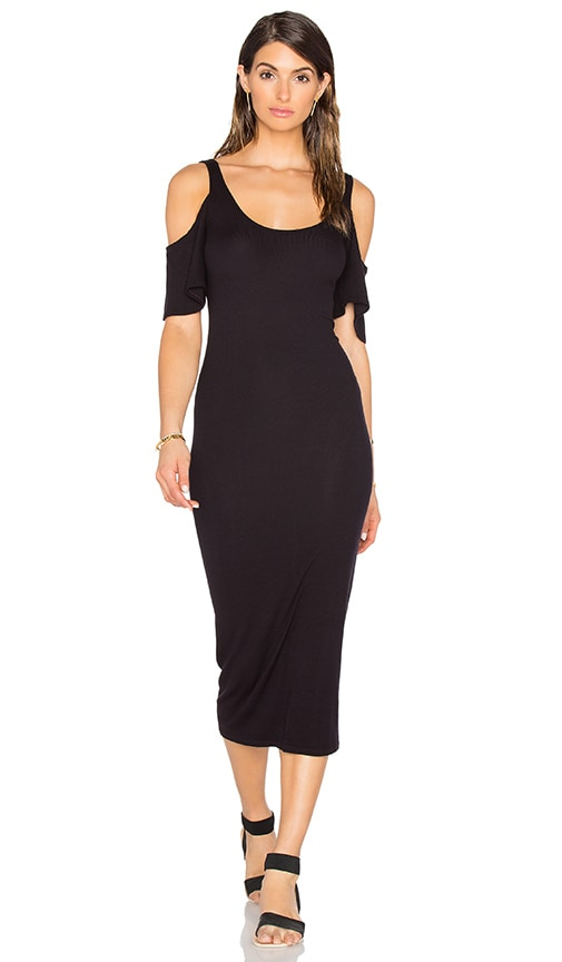 Enza Costa Stretch Silk Rib Flutter Sleeve Dress in Black