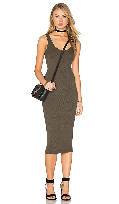 Enza Costa Silk Rib Tank Dress in Olive Drab