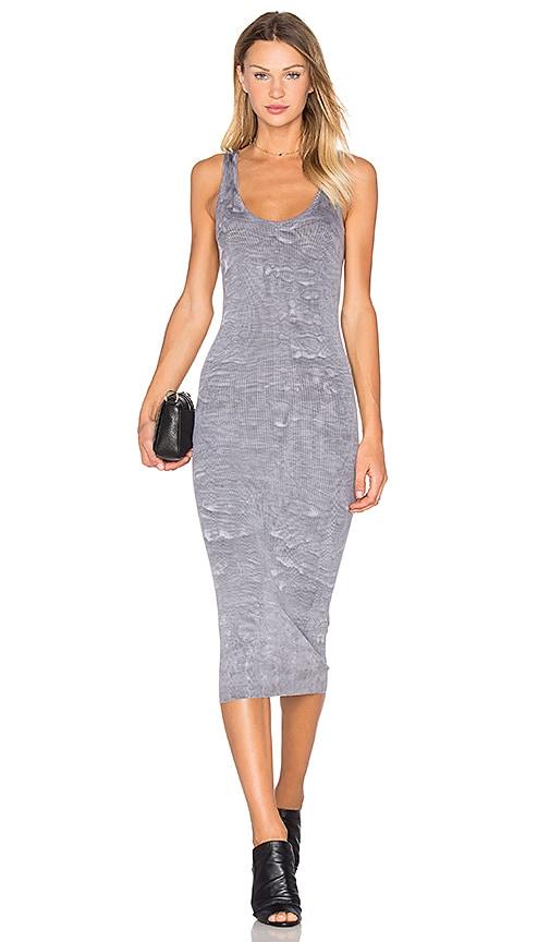 Enza Costa Rib Tank Midi Dress in Gray