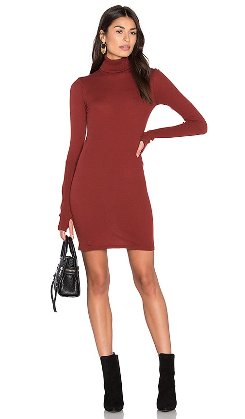 Enza Costa Cashmere Long Sleeve Turtleneck Dress in Rust