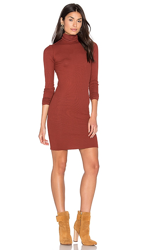 Enza Costa Rib Long Sleeve Turtleneck Mini Dress in Rust