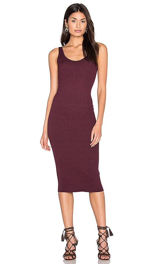 Enza Costa Silk Rib Tank Dress in Wine