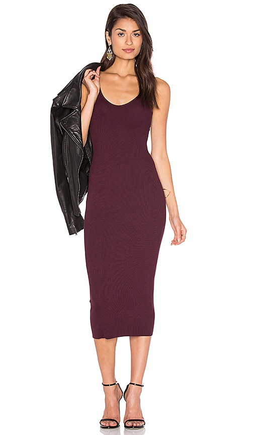 Enza Costa Rib Tank Dress in Wine