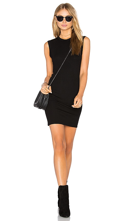 Enza Costa Rib Sleeveless Mini Dress in Black