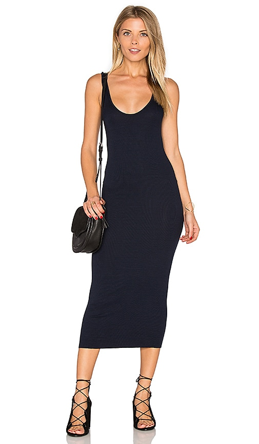 Enza Costa Rib Tank Dress in Navy