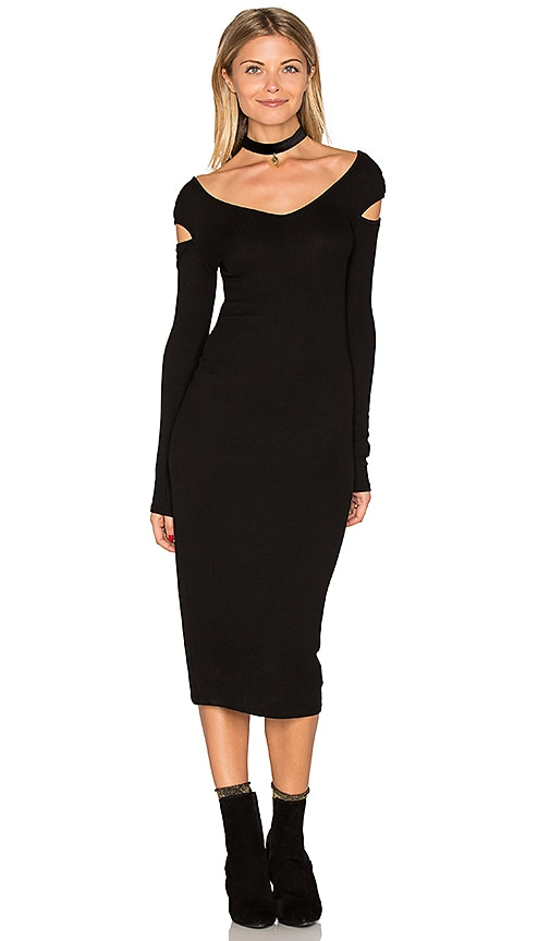 Enza Costa Cut Out Shoulder Midi Dress in Black