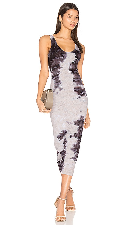 Enza Costa Rib Tank Midi Dress in Gray