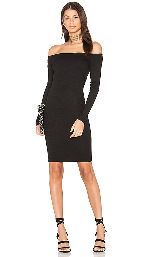 Enza Costa Rib Off Shoulder Mini Dress in Black