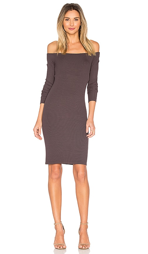 Enza Costa Rib Off Shoulder Mini Dress in Brown