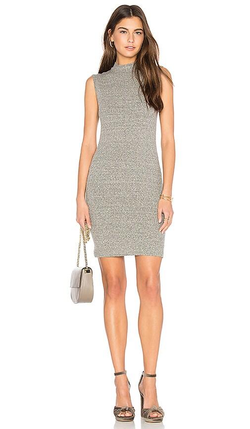 Enza Costa Rib Mock Neck Mini Dress in Gray