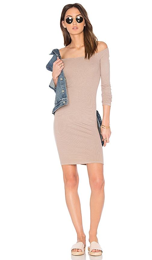 Enza Costa Rib Off Shoulder Mini Dress in Beige