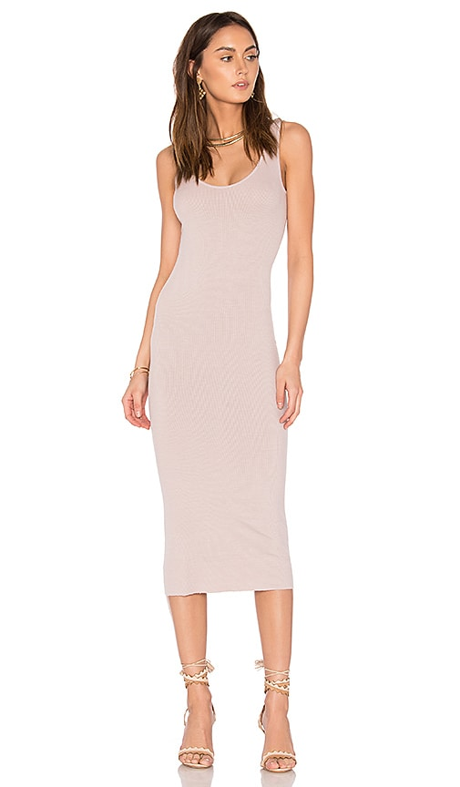 Enza Costa Rib Tank Dress in Pink