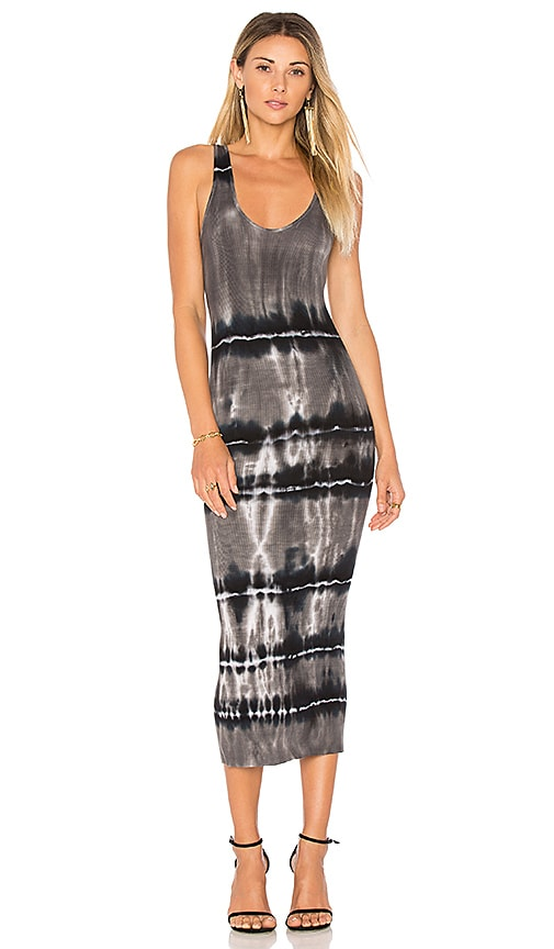 Enza Costa Rib Tank Midi Dress in Black