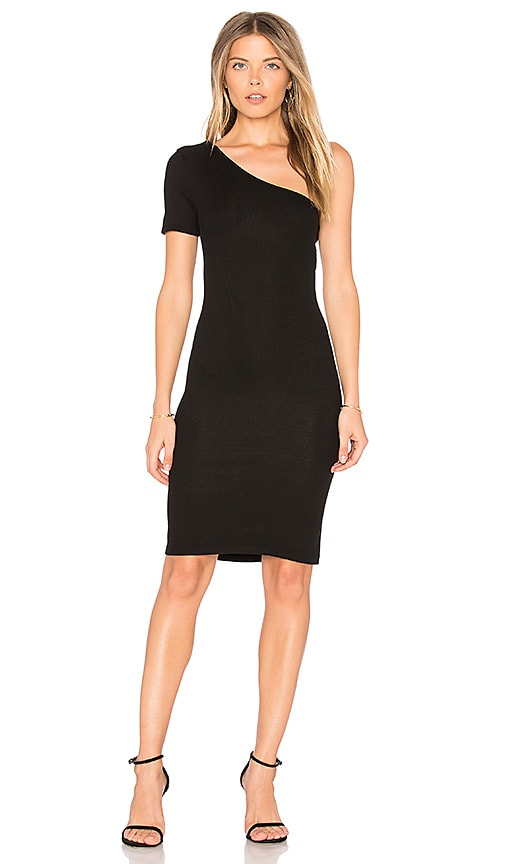 Enza Costa Rib One Shoulder Dress in Black