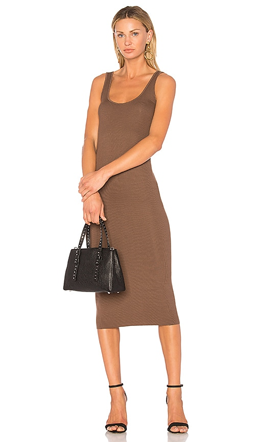 Enza Costa Rib Tank Dress in Brown