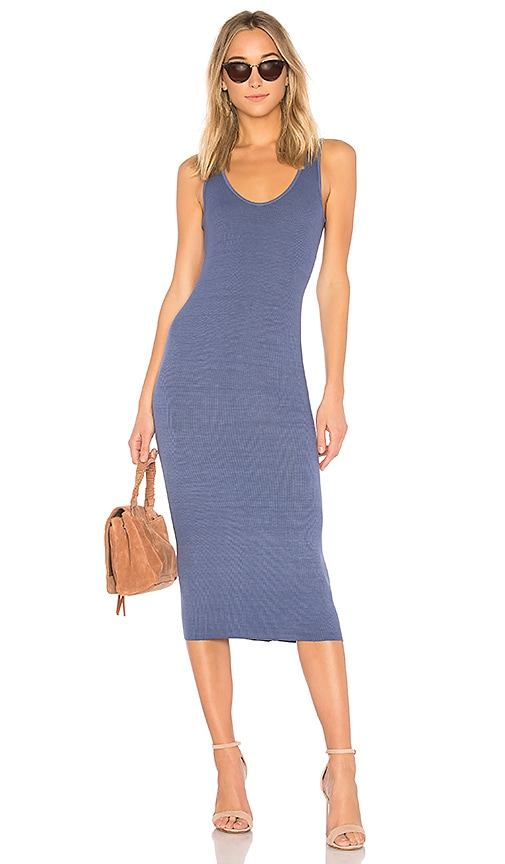 Enza Costa Rib Tank Dress in Blue