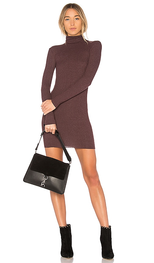 Enza Costa Rib Turtleneck Mini Dress in Wine