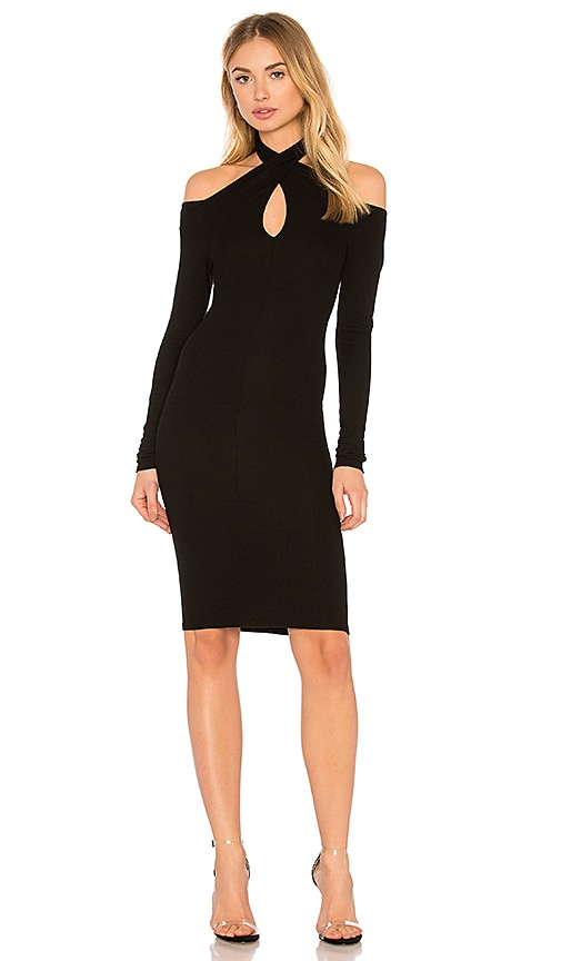 Enza Costa Rib Twist Dress in Black