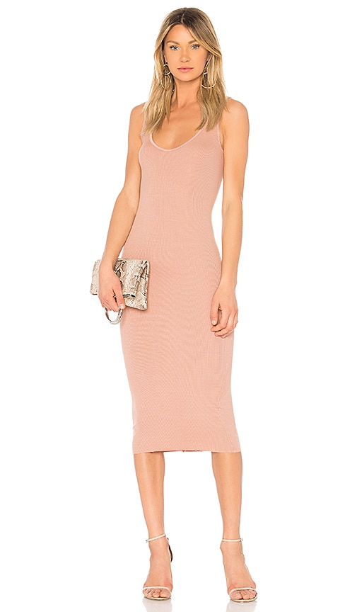 Enza Costa Rib Tank Dress in Rose