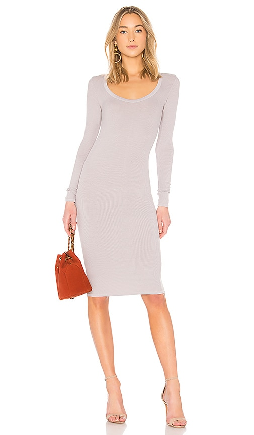 Enza Costa Scoop Long Sleeve Dress in Gray