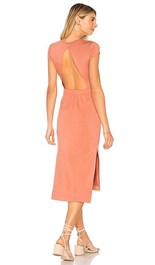 Enza Costa Jersey Open Back Midi Dress in Rose