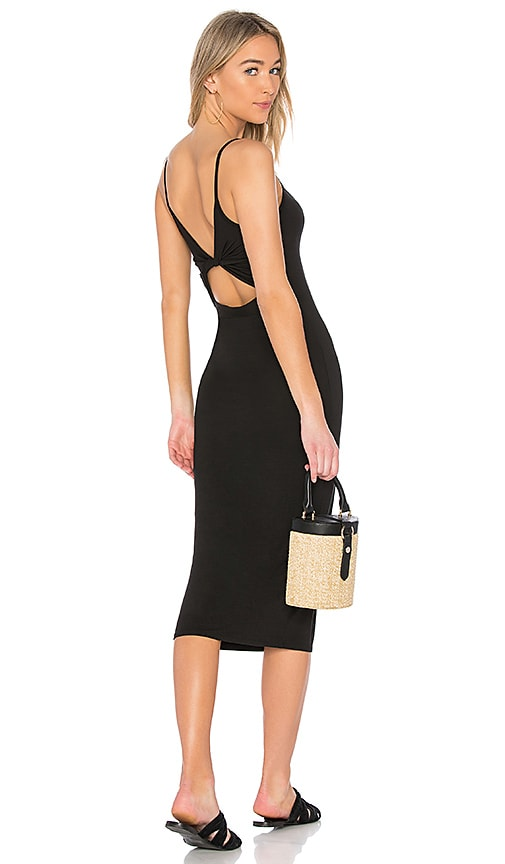 Enza Costa Matte Jersey Back Twist Midi Dress in Black