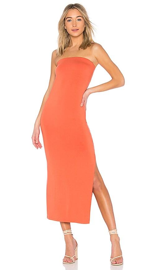 Enza Costa Matte Jersey Side Slit Dress in Orange