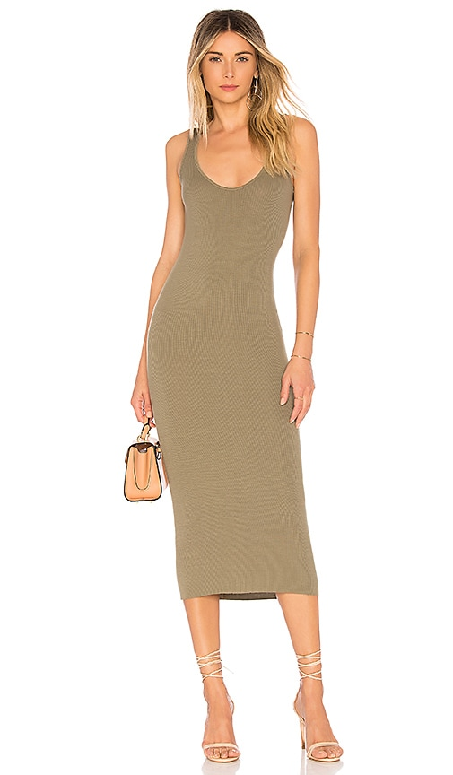 Enza Costa Rib Tank Dress in Army
