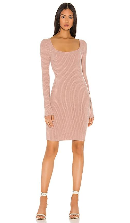 Enza Costa Brushed Rib Square Neck Mini Dress in Plastic Pink | REVOLVE
