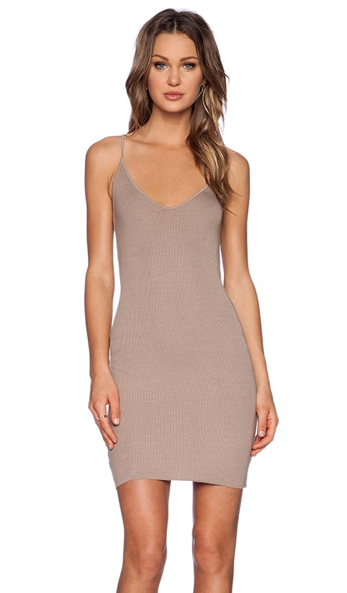 Enza Costa Rib Racer Tank Dress in Silver Mink