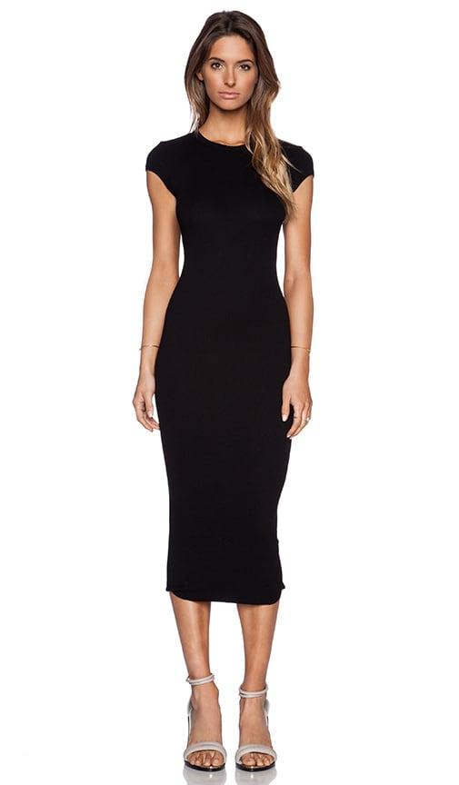 Enza Costa Rib Cap Sleeve Dress in Black  f7f534c17434