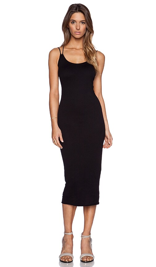 Enza Costa Doubled Strap Tank Dress in Black