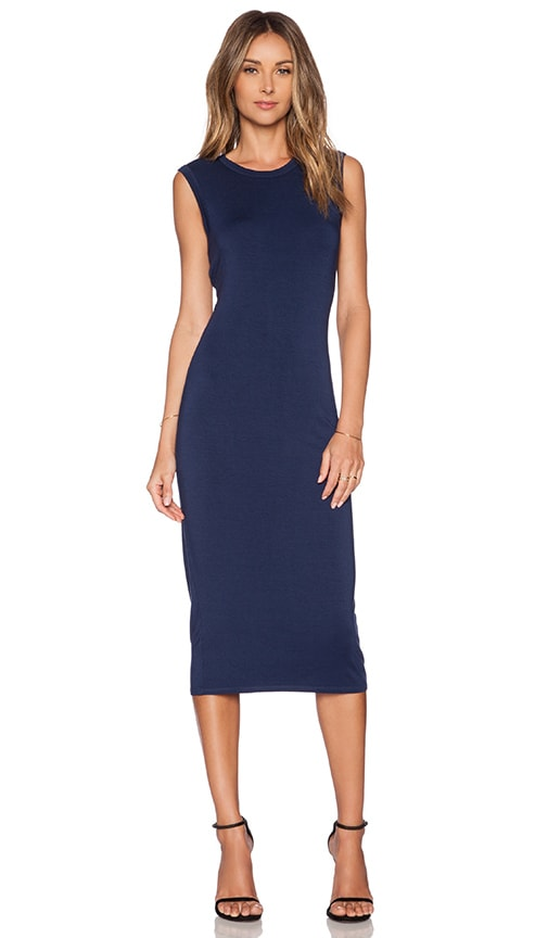 Enza Costa Twist Back Midi Dress in Atlantic