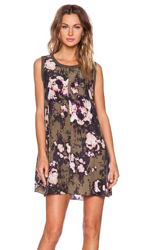 Enza Costa Printed Mini Dress in Olive Floral