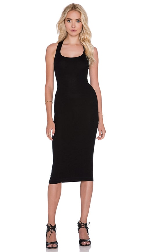 Enza Costa Silk Jersey Rib Cross Back Dress in Black