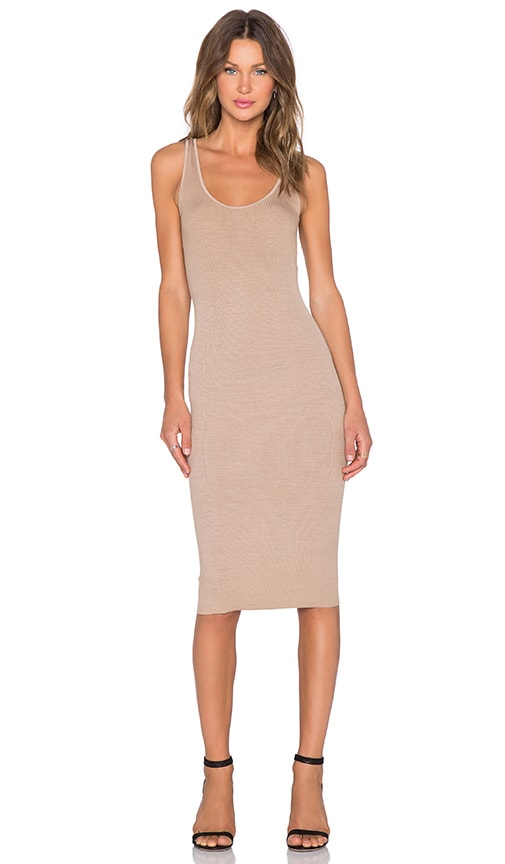 Enza Costa Silk Rib Tank Dress in Tan