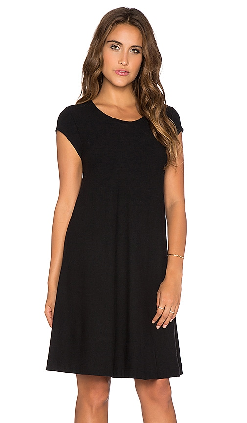 Enza Costa Cap Sleeve Dress in Black