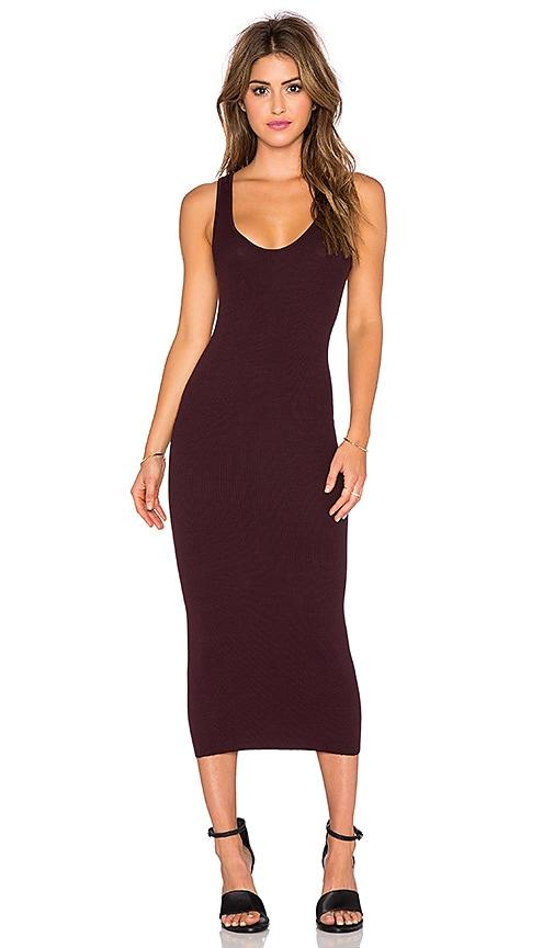Enza Costa Rib Tank Dress in Dark Burgundy