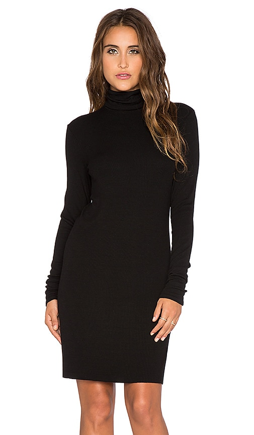 Enza Costa Rib Long Sleeve Turtleneck Mini Dress in Black
