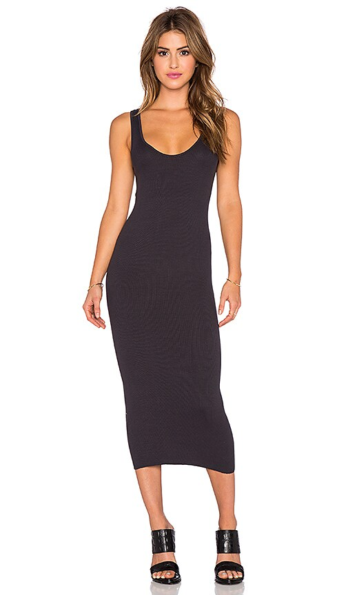 Enza Costa Rib Tank Dress in Charcoal