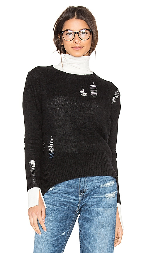 Enza Costa Cashmere Distressed Sweater in Black
