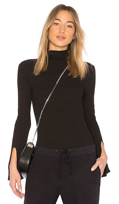 Enza Costa Rib Turtleneck Pullover in Black