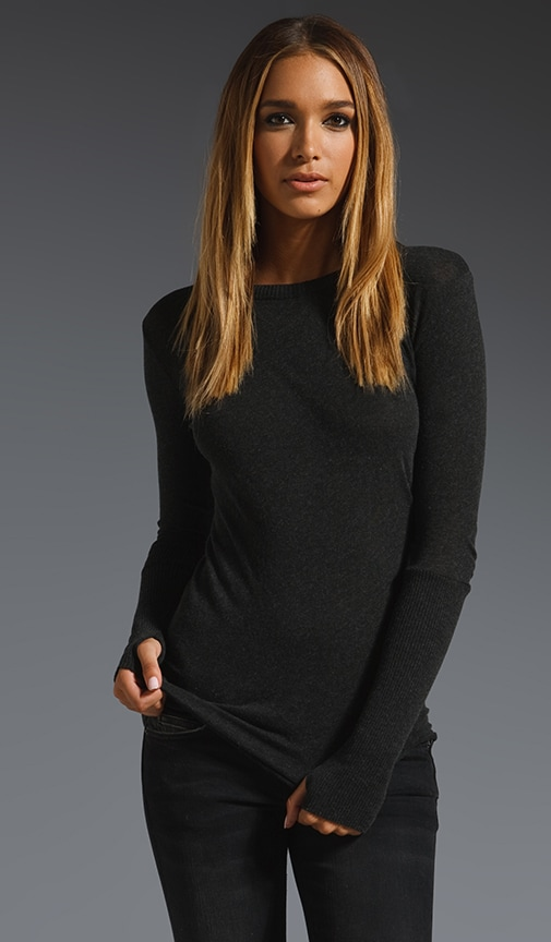 Cashmere Fitted Cuffed Crew Neck Sweater