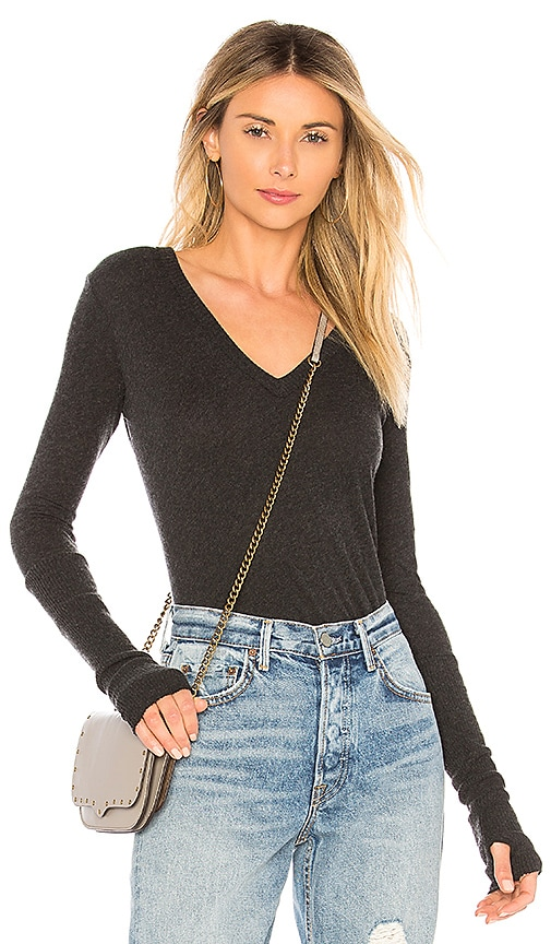 Cashmere Fitted Cuffed V Neck Sweater