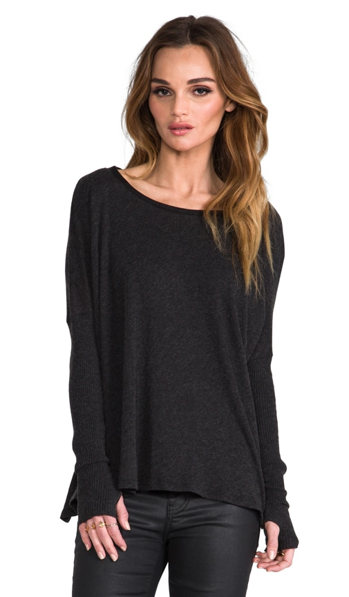 Cashmere Sweater with Leather Trim