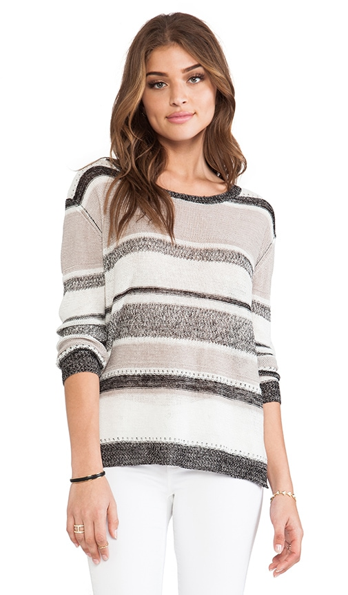 Linen Gauze Stripe Scoop Sweater