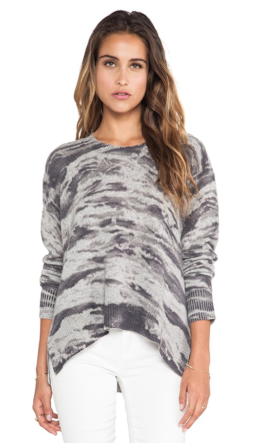 Cashmere Printed Loose Crew Sweater