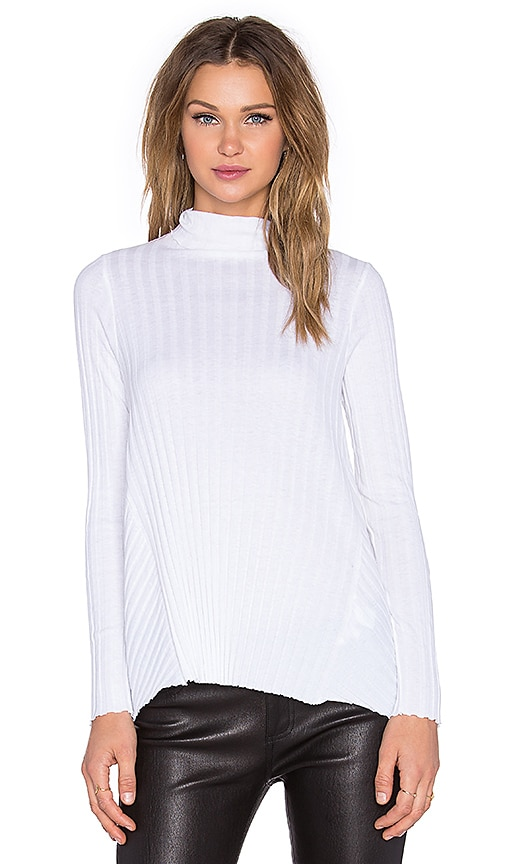 Enza Costa Cashmere Flare Long Sleeve Turtleneck Sweater in White
